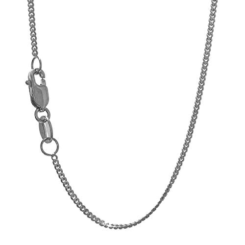 (JewelStop 10k Solid White Gold 1 mm Gourmette Curb Chain Necklace, Lobster Claw Clasp - 24