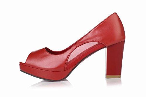 Carolbar Kvinners Peep Toe Fashion Enkle Kontor Dame Voile Mesh Plattform Chunky Mid Hæl Pumper Sko Røde