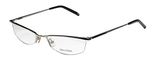 Vera Wang V106 Womens/Ladies Cat Eye Half-rim Eyeglasses/Eyewear (52-18-140, Chrome / Black)
