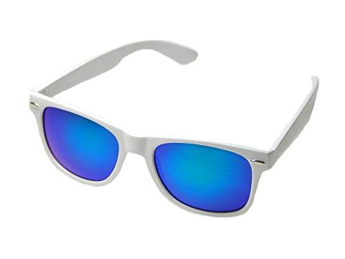 Wayfarer Sunglasses Classic 80's Vintage Style Design (White Blue Sky)