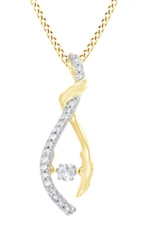 (AFFY White Natural Dancing Diamond Wishbone Pendant Necklace in 10k Yellow Gold (0.2 cttw))