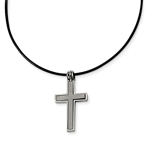Titanium Leather Cord Cross Necklace 18'' inches length