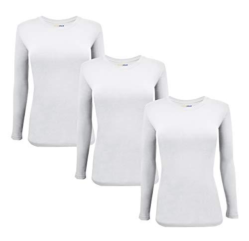 - Natural Uniforms Women's Under Scrub Tee Crew Neck Long Sleeve T-Shirt 3-Multi Pack (Large, 3 Pack White)