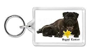 Advanta - Keyrings 'Happy Easter' negro Pug perros foto llavero Animal de regalo