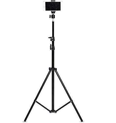 Satluj Portable 7 Feet Long Tripod Stand with Adjustable Mobile Clip | 360-degree Rotate Head for All Mobiles & Cameras