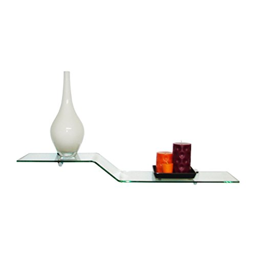 "Fab Glass and Mirror Bent Glass Shelf, 30.5""x 8"", Clear"