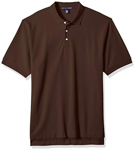 - D & Jones Men's DEJN-D100 Pima Piqué Short-Sleeve Polo, Espresso, 2XL