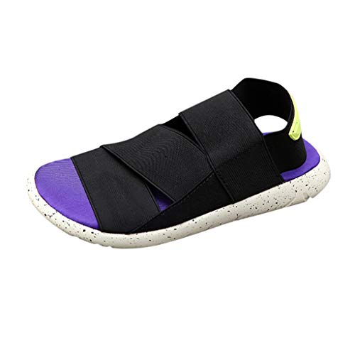 Price comparison product image Couple Sport Sandals Stretch Fabric Canvas Mixed Colors Summer Casual Athletic Sandal Slipper Shoes Purple