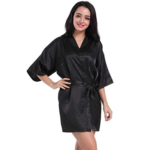 iTLOTL Women's Pure Short Kimono Silk Robe Sleepwear For Bride Wedding Party(Black,M) -