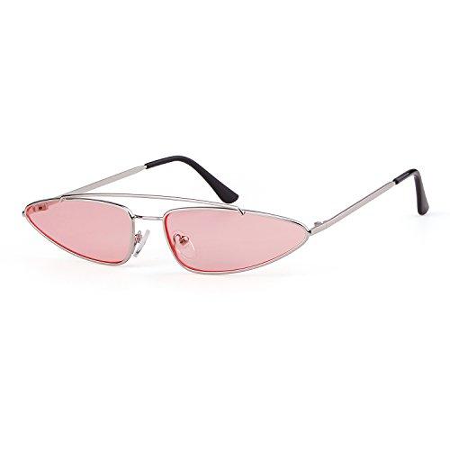 ADEWU Retro Cat Marco Metal para Lente Diseñador 2018 Eye 1 Mujeres Plata Sunglasses Hombres Vintage Small Rosa RRrq0Cw