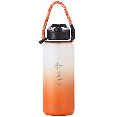 the flow Insulated Water Bottle 32oz Stainless Steel Hydro Vacuum Flask with Leakproof Coffee Flip Lid & Paracord Handle, Double Wall Sports, Travel & Beach Iron Metal Modern Tumbler for Hot Drink