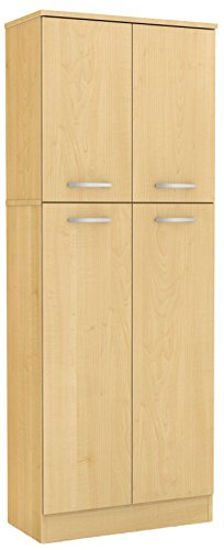 - South Shore 4-Door Storage Pantry with Adjustable Shelves, Natural Maple