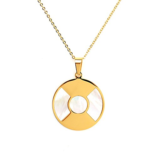 Bold & Stylish Gold Tone Designer Necklace with Circular Pendant and Faux Mother of Pearl Inlay (160069) Bold Faux Pearl