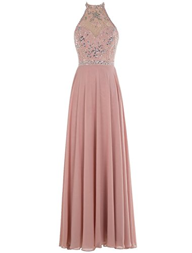 Backless Chellen Beaded Prom Gowns Blush C028 Evening Chiffon Long A Sexy Line 55q6YFw