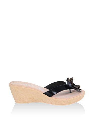 Hh Fabriqué En Italie F Sd012_nero Cuir Basse Sandale