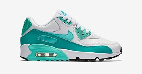 purchase cheap 28d80 ba04f Galleon - Nike Air Max 90 Letter Big Kids Style Shoes   833376, White Hyper  Turquoise Clear Jade, 5