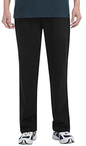 Cromoncent Mens Summer Light Casual Straight Leg Elastic Waist Soft Pants Black Large