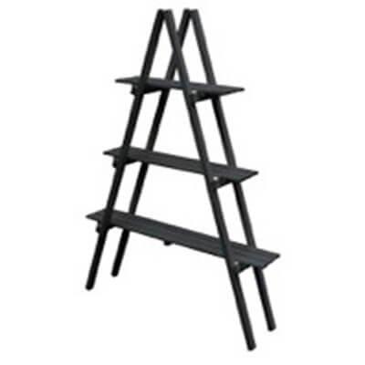 ウッド 棚 はしご 3段 シェルフ 作業台/エストウッド/木製/ガーデニング/エクステリア/北欧 【 ブラック 】 B079DY4J3M ブラック ブラック