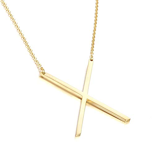 MOMOL Sideways Initial Necklace 18K Gold Plated Stainless Steel Large Big Letter X Pendant Necklace Script Name Monogram Necklaces for Women (X)