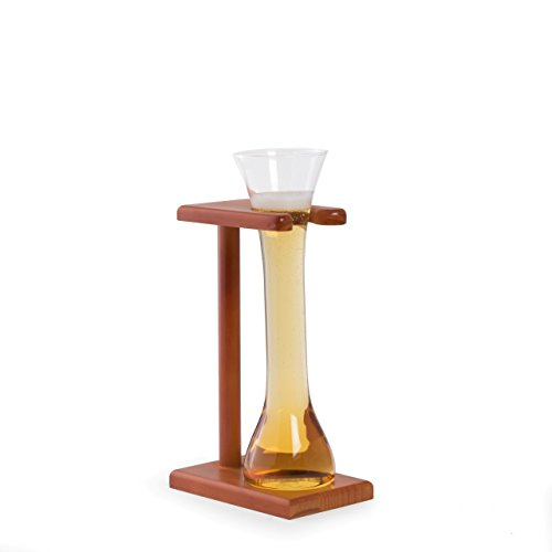 Bey Berk Quarter Yard of Ale Glass with Wooden Stand, 12 oz