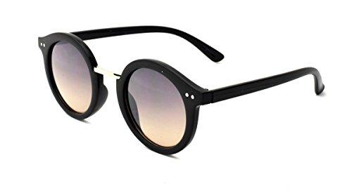 Dollhouse Women's Round Sunglasses, Opaque Black Frame with Metal Bridge, Smoke to Brown Lens, - Sunglasses Dollhouse