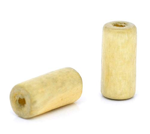 Calvas Wood Spacer Beads Cylinder Natural About 12mm(4/8