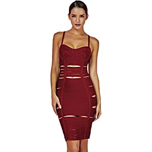 whoinshop Women 's Strap Backless Cut-Out Bandage Bodycon Clubwear Midi Dress for Women