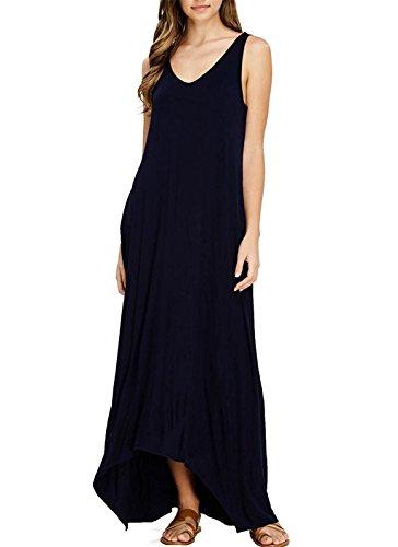 Dress Dress Long Summer Casual Womens Maxi Blue Beach Dark Sleeveless Zalaor Pockets HxXzqISI