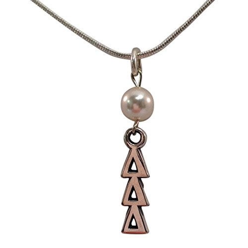 Delta Delta Delta Tri Delta Sorority Pearl Sterling Silver Lavalier with 18 Inch Chain Necklace - Fraternity Sorority Pearls