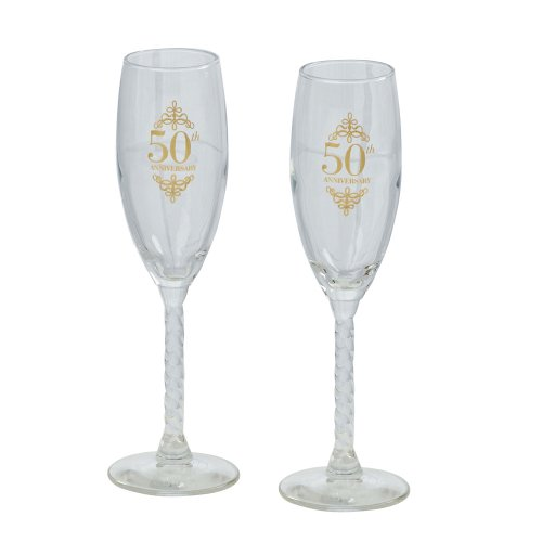 50th Anniversary Barware Set - Jamie Lynn 50th Anniversary Collection, Toasting Flutes, Set of 2