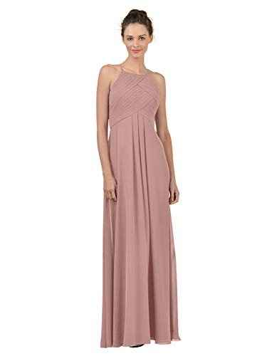 Alicepub Long Chiffon Plus Size Bridesmaid Dress Maxi Evening Gown A Line Plus Party Dress, Silver Pink, US26 from Alicepub