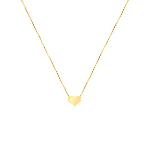 Necklace Gold Heart Large (Mevecco Gold Tiny Heart Necklaces,14K Gold Plated Handmade Dainty Cute Love Heart Charm Chain Minimalist Choker Necklace for Women)