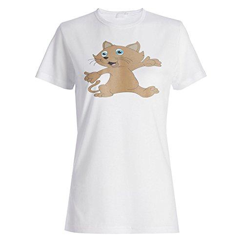 Niedliche Katze neue lustige braune Kunst Damen T-shirt e157f
