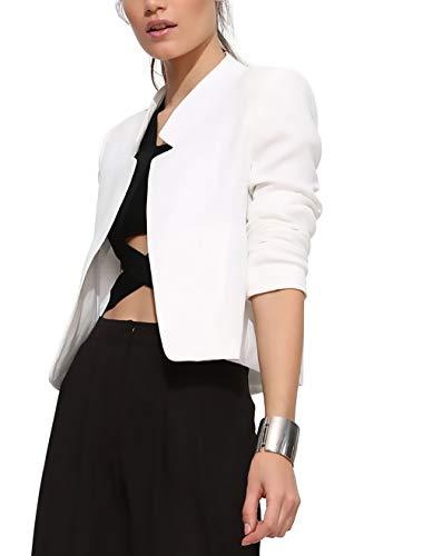 Manica Slim Bianca Blazer Business Casual Giacca Eleganti Corto Grazioso Camicia Moda Primaverile Ufficio Coreana Monocromo Stlie Fashion Tailleur Lunga Autunno Cappotto Da Donna Fit Giacche Collo 4OxnOtq