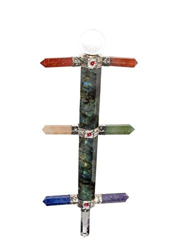 Crocon Labradorite Gemstone Healing Stick With Seven Chakra Point Reiki Healing Wand Energy Generator For Chakra Balancing Aura Cleansing & EMF Protection Size: 8.5 Inch ()