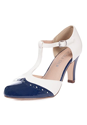 - Chelsea Crew Gatsby Vintage Wingtip T-Strap Two Tone Mary Jane Pump Heel-Navy/White-8