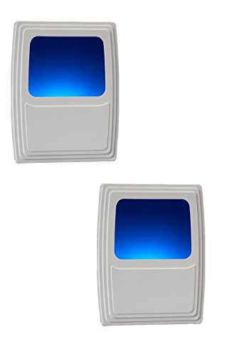 Energy Efficient Finish - AmerTac Amerelle Plug-In Forever-Glo LED Night Light - Includes 2 Blue Night Lights - Always-On Glow, Energy Efficient - White Finish - Ideal for Dark Rooms and Spaces at Home