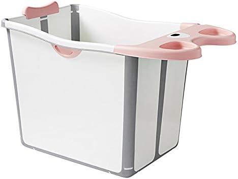 折りたたみお風呂浴槽、取り外し可能なバススツールは360°の幼児子供高齢0-6歳用断熱ラスティングと大型宇宙折りたたみベビーバスタブベビーシャワー盆地,ピンク