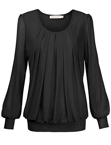 BAISHENGGT Women's Pleated Front Mesh Tunic Top Blouse Small Black (Checked Puff Sleeve Dress)