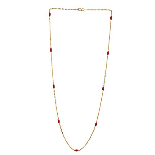 Efulgenz Indian 14 K Gold Plated Faux Red Coral Chain Necklace Beads Strand Fashion Costume Jewelry
