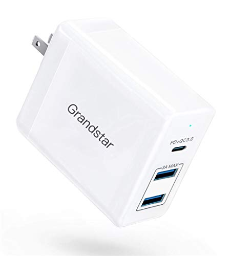 (Grandstar USB Charger, 60W - 3 Port USB C Power Delivery Wall Charger with QC 3.0 and Foldable Plug - Compatible MacBook, iPad/Pro, iPhone X/XS/Max/XR/8/7/6/Plus, Samsung Galaxy S8/S8+/S9/S10)
