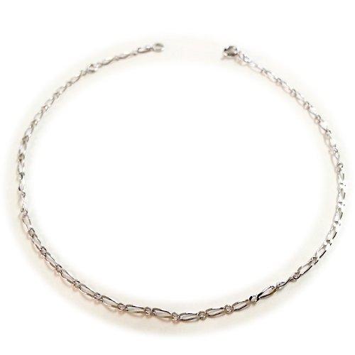Diamantly - Chaine de cheville or Gris Maille Gourmette 1.1 050 - Bijoux or Rhodiè 375/1000 (9 Carats) - Femme - Fille