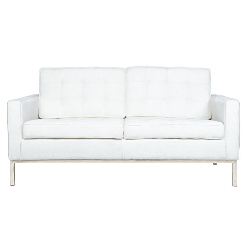 LeisureMod Modern Lorane Loveseat in Wool, White