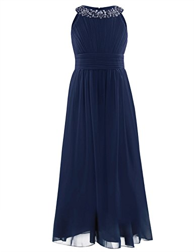 iiniim Girl's Sequined Halter-Neck Sleeveless Chiffon Long Gowns Pageant Party Prom Wedding Bridesmaid Flower Girl Dress Dark Navy 14 (Sequin Neck Sleeveless)