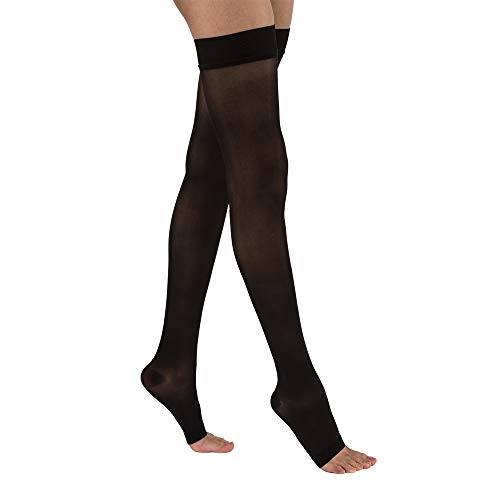 JOBST UltraSheer Thigh High with Silicone Dot Top Band, 15-20 mmHg Compression Stockings, Open Toe, Medium, Classic Black - Jobst Ultra Sheer Thigh High