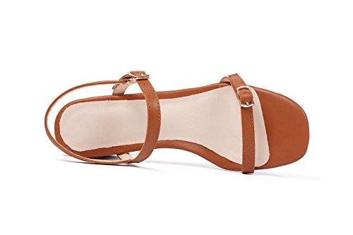 GAOLIM Sandalias De Verano Hembra Simple Clip Sujetadores Expuestos Ranurados Y Áspera Como El Hueco Chica Zapatos Brown