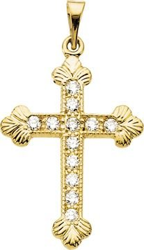 Pendentif Croix-Or jaune 14 carats avec diamants bruts 22,5 x 16,5 mm-JewelryWeb