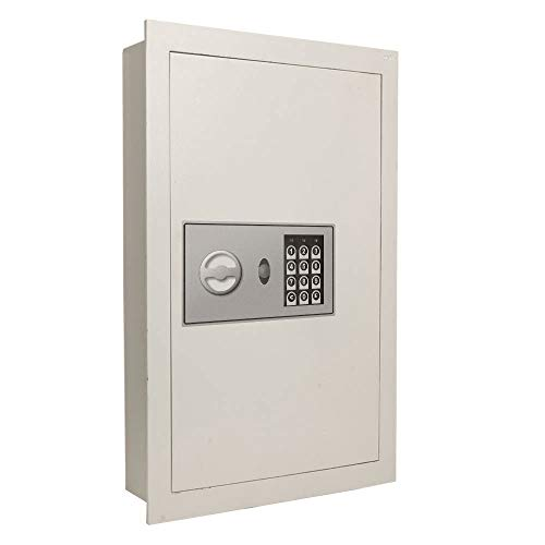 Flat Recessed Digital Built-In Wall Safe Fire-resistant | Cash Jewelry Document Money Gun Secure Lock Box Home Office (Best Wall Safe For Home)