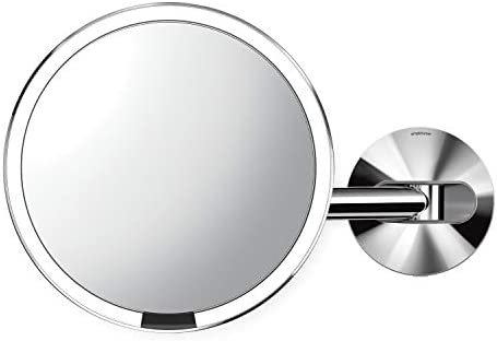 simplehuman Wall Mount Sensor Makeup Mirror, Polished Stainless Steel