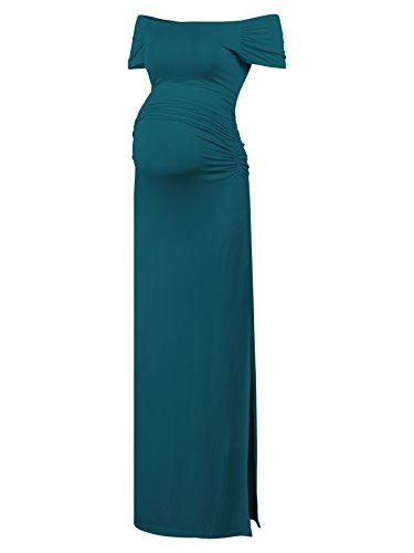 Black Cherry Women's Off Shoulder Short Sleeve Maternity Casual Maxi Dress Teal XL